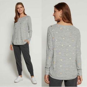 GAP. Grey. Metallic star print.
